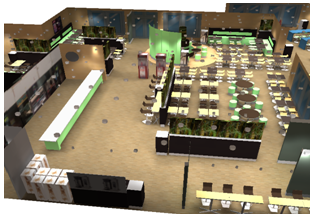 Simulation 3D Dialux d'un restaurant